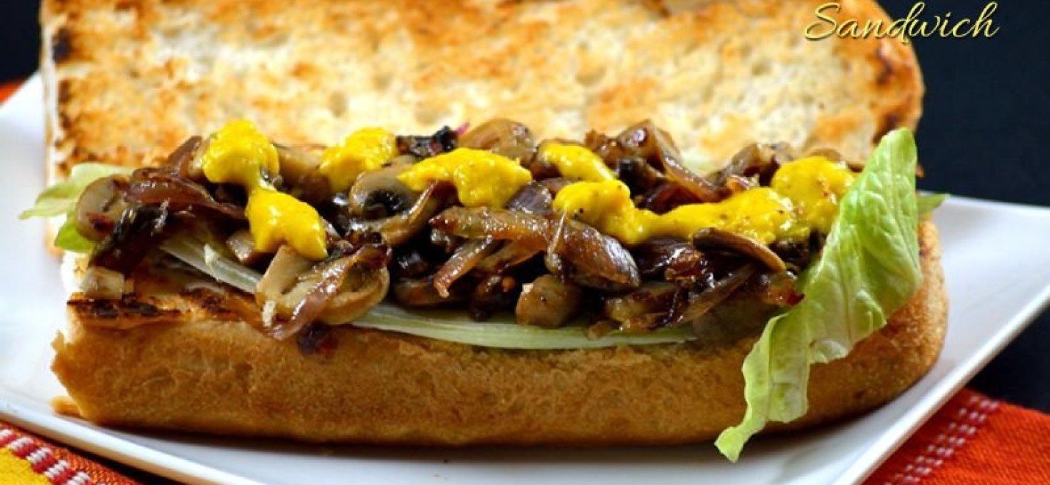 Caramelized Onion Mushroom Sandwich | Quick Dinner Ideas