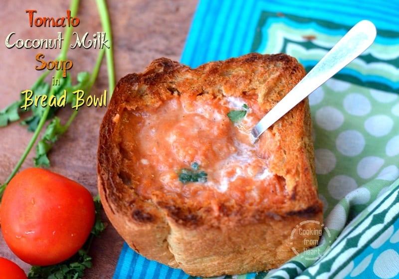 Tomato Coconut Milk Soup in Bread Bowl   Vegan Creamy Tomato Soup