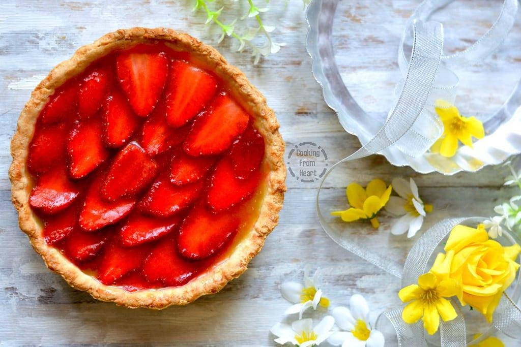 Eggless Strawberry Lemon Curd Tart