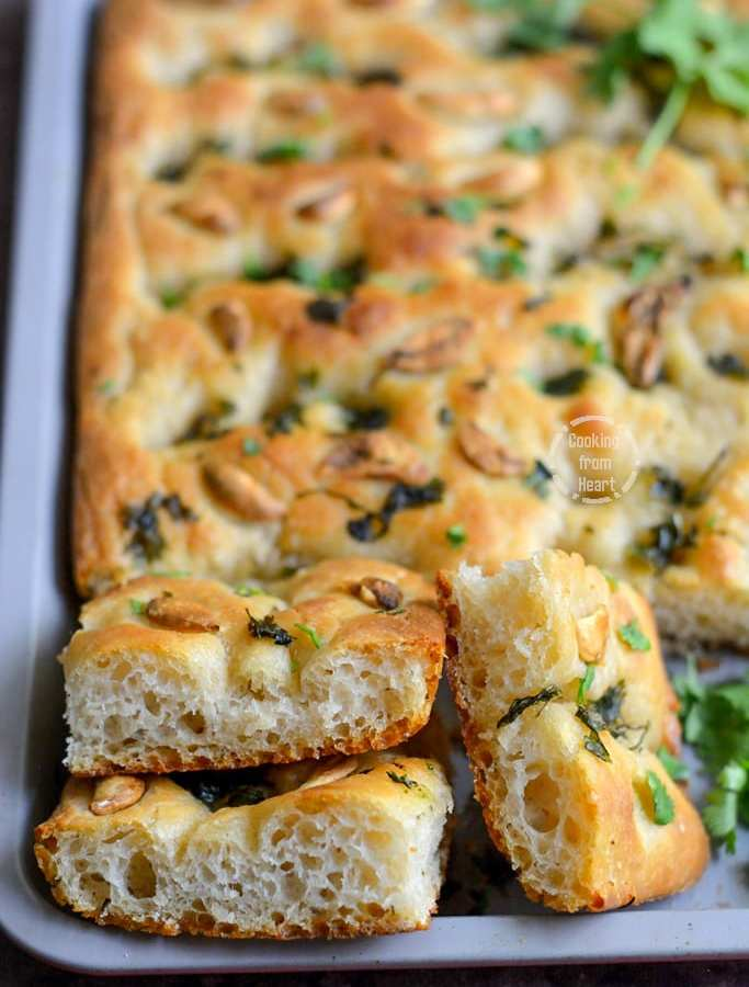 Sourdough Focaccia | Garlic and Coriander Focaccia