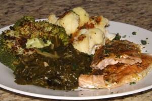 roasted salmon, broccoli and califlower
