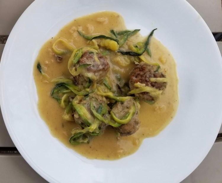 Swedish Meatballs over Zucchini Noodles