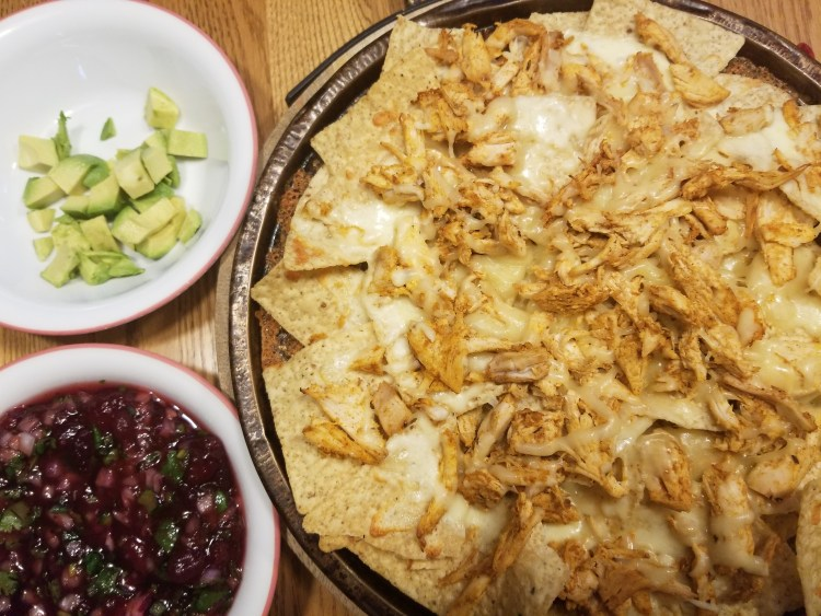 turkey nachos with cranberry salsa