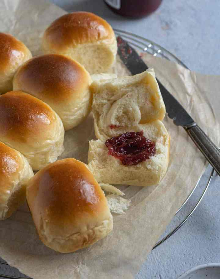 milk bread spread with jam.