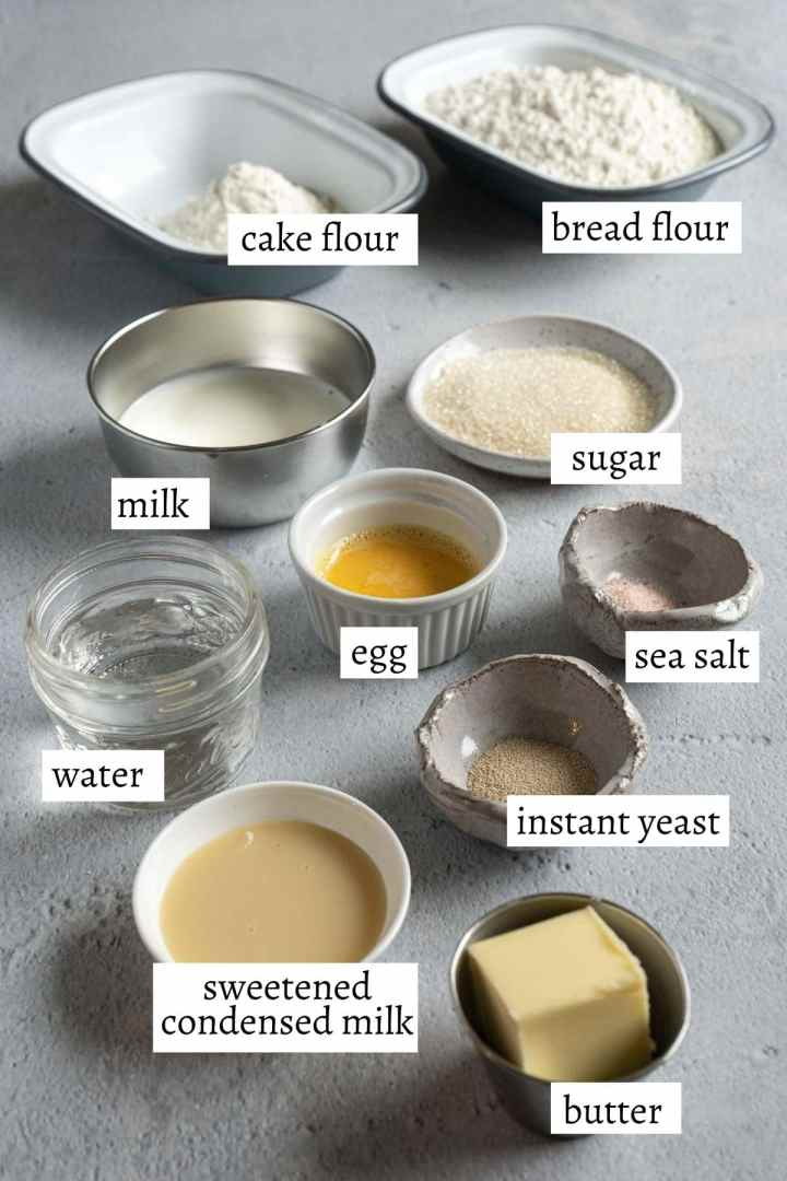 ingredients for making milk bun.