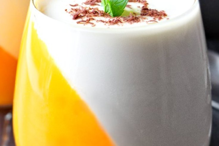 Orange panna cotta is creamy and fresh dessert, one of the Christmas dessert ideas you can make for your family. Easy no bake desserts that you will enjoy! Orange and white dessert, served with peppermint leaves and shredded chocolate.