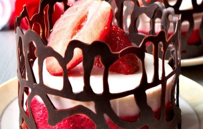 strawberry and yogurt desserts with chocolate decoration
