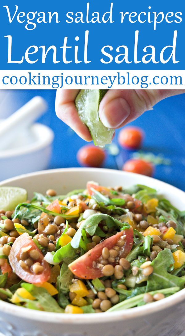Lentil salad is tasty simple dish that you can serve for dinner or between the meals. You will enjoy spicy-citrus lime dressing! This cold lentil salad is healthy for you. Moreover, it is one of my favorite vegan salad recipes! #salads #easyrecipe #mothersday #spicy #veganrecipes