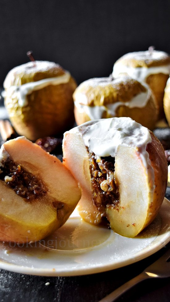 Easy Baked Apples with Yogurt, cut in half to see the stuffing