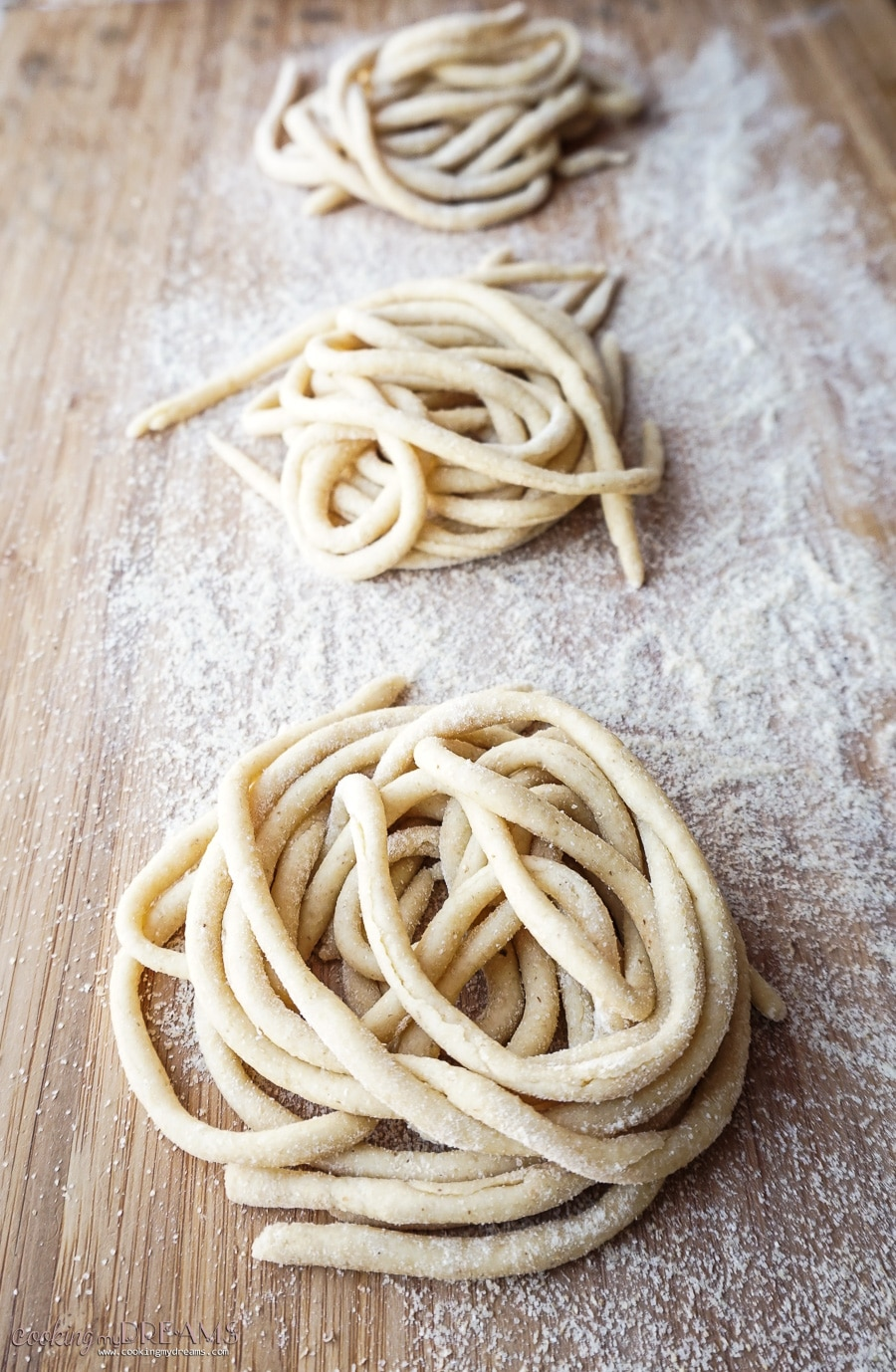 raw handmade pici pasta