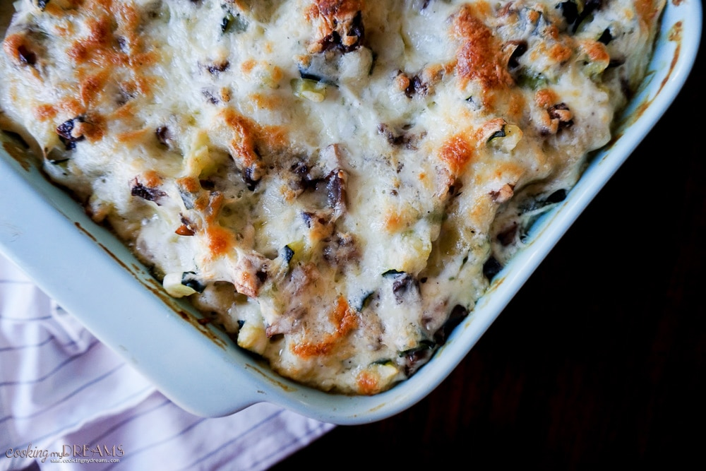 Overhead close-up of a vegetable white lasagna