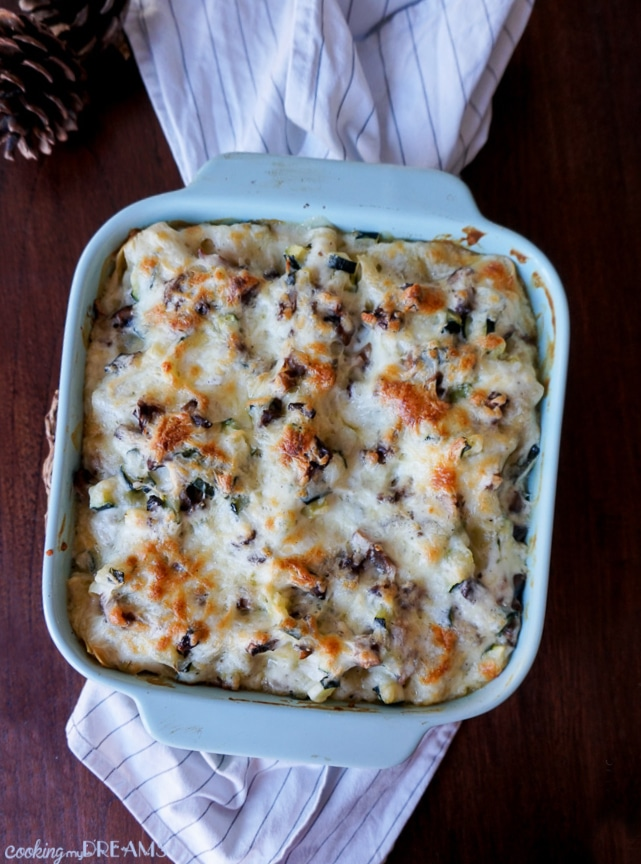 Overhead picture of a vegetable white lasagna