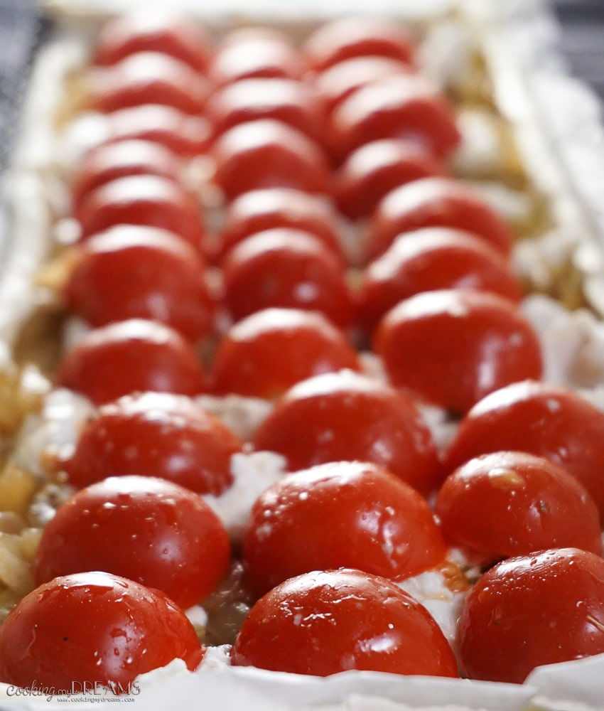 Caramelized Onion, Goat Cheese and roasted Cherry Tomato Tart