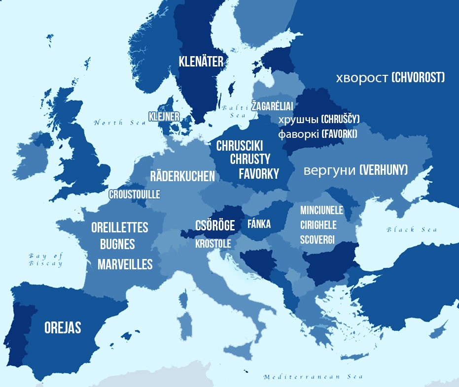 Blue vector map of Europe showing all the different pastry names