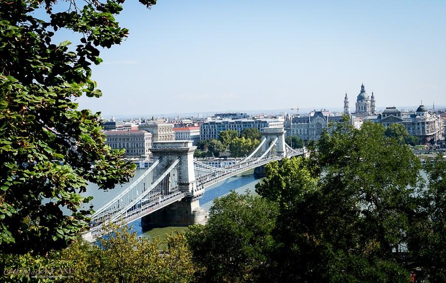 high view of budapest chain bridge