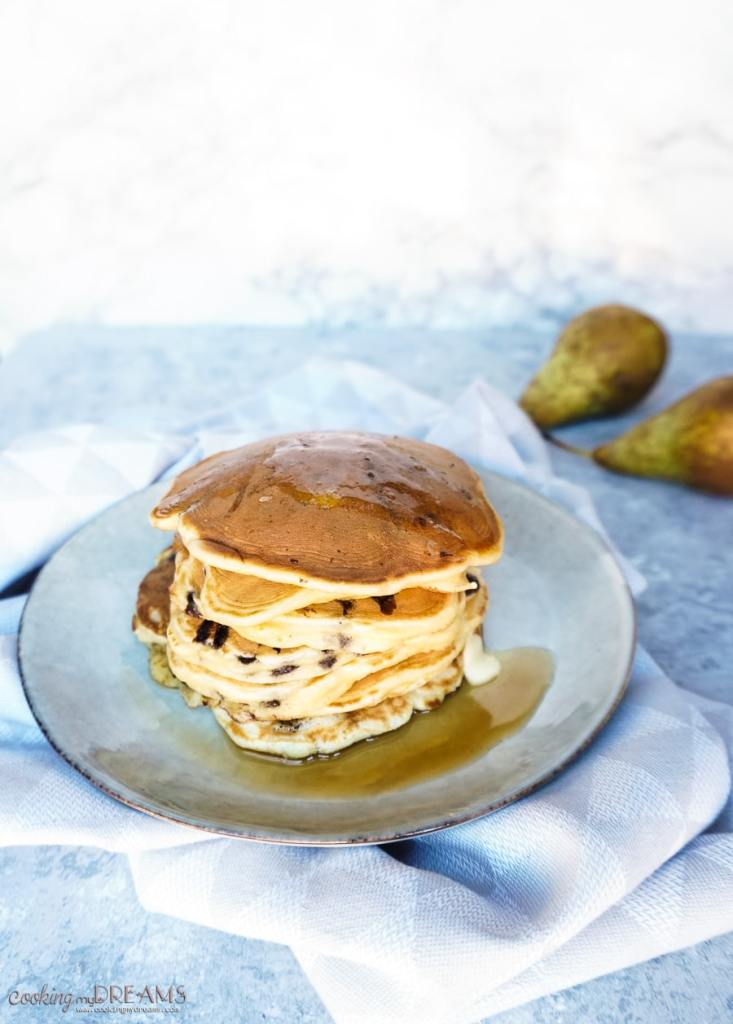stack on pancakes and pears