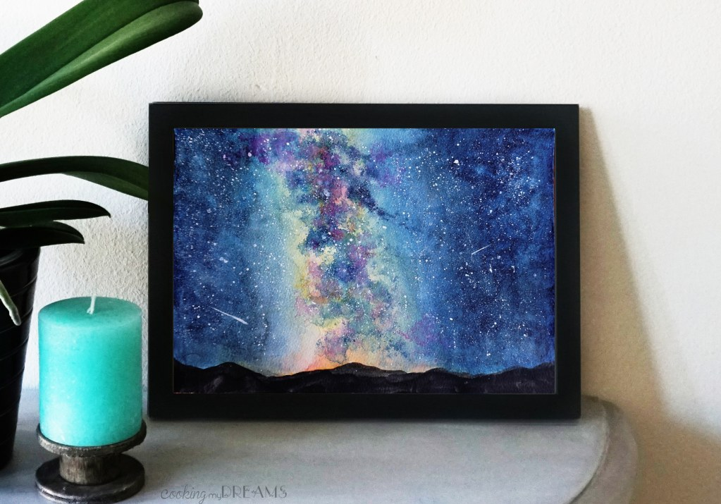 milky way night sky watercolor painting