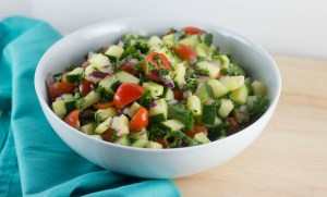 Israeli salad closeup