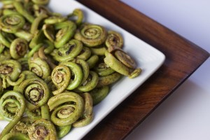 fiddlehead ferns with garlic and lemon