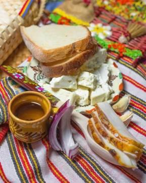Smoked pork lard, cheese, garlic, onion and plum brandy on Cooking Romania by Vivi