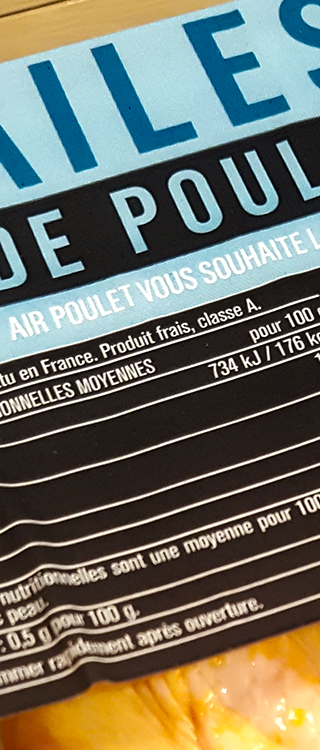 Package of Monoprix Chicken Wings (Low Carb) - Cooking Shit in Paris