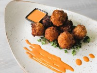 Fried Goat Cheese Balls with sriracha mayo recipe