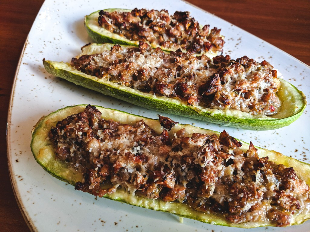 Pork and Chanterelle Stuffed Zucchini