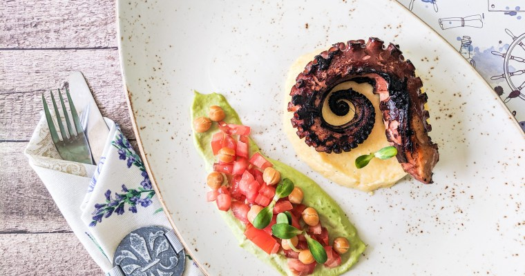 Balsamic Grilled Octopus With Polenta