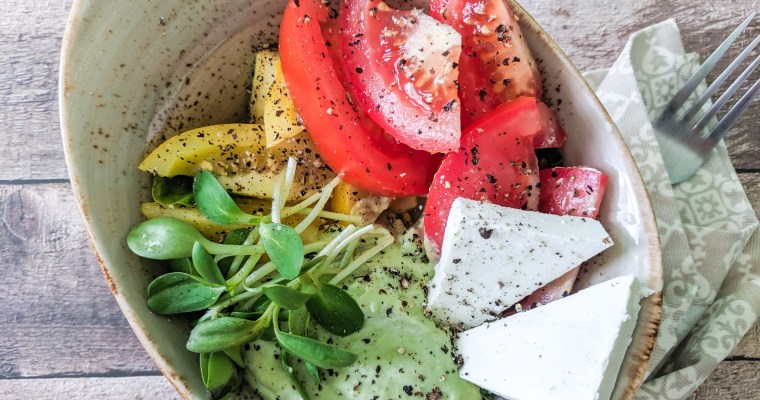 Tomato Salad With Avocado Cream And Feta
