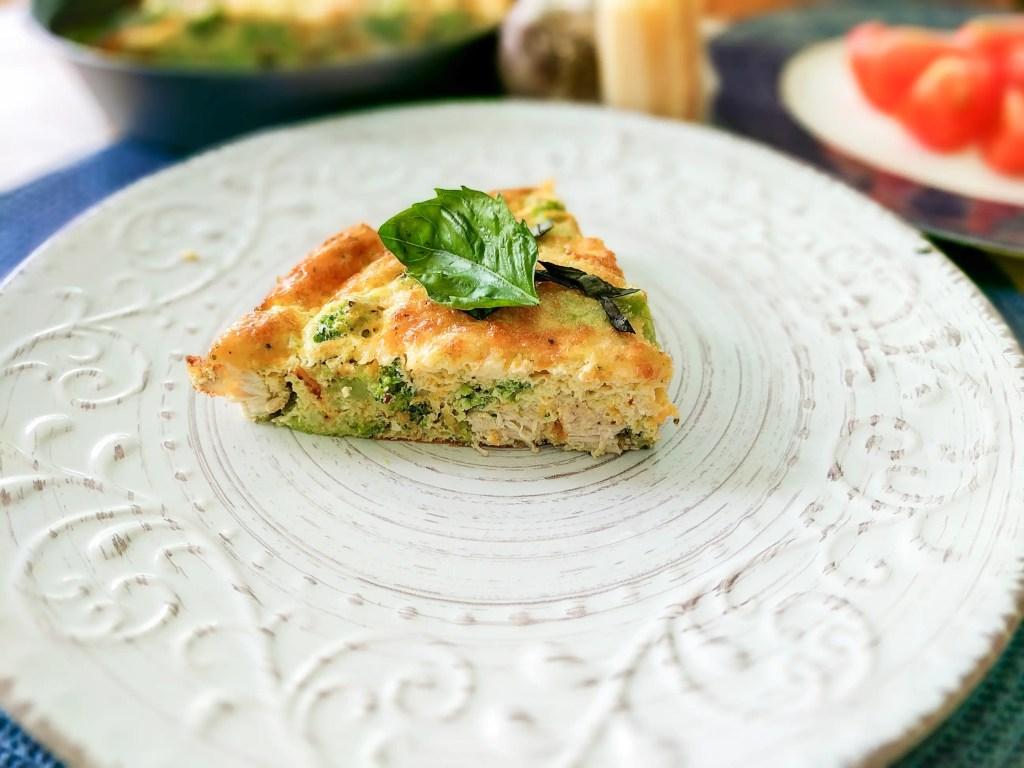 A slice of the Broccoli Chicken Frittata