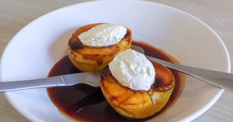 Caramelized Peaches With Mascarpone And Tinto De Verano Reduction