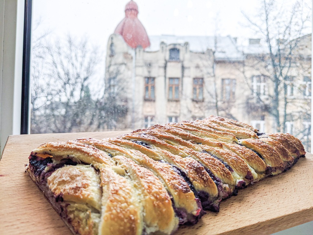 picture of pastry in front of window