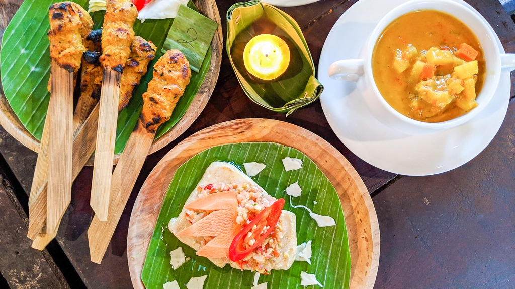 The three main dishes from the bali farm cooking class