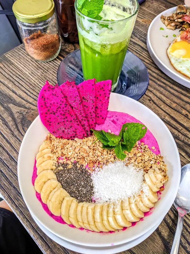 Dragon Smoothie Bowl from machinery cafe in Canggu Bali