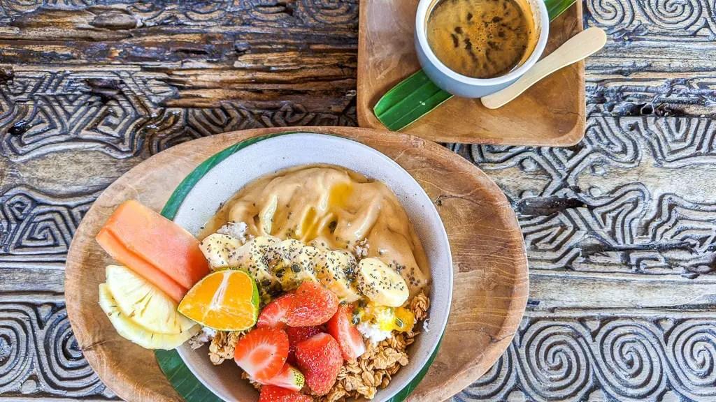 mango smoothie bowl from betelnut cafe in canggu bali indonesia