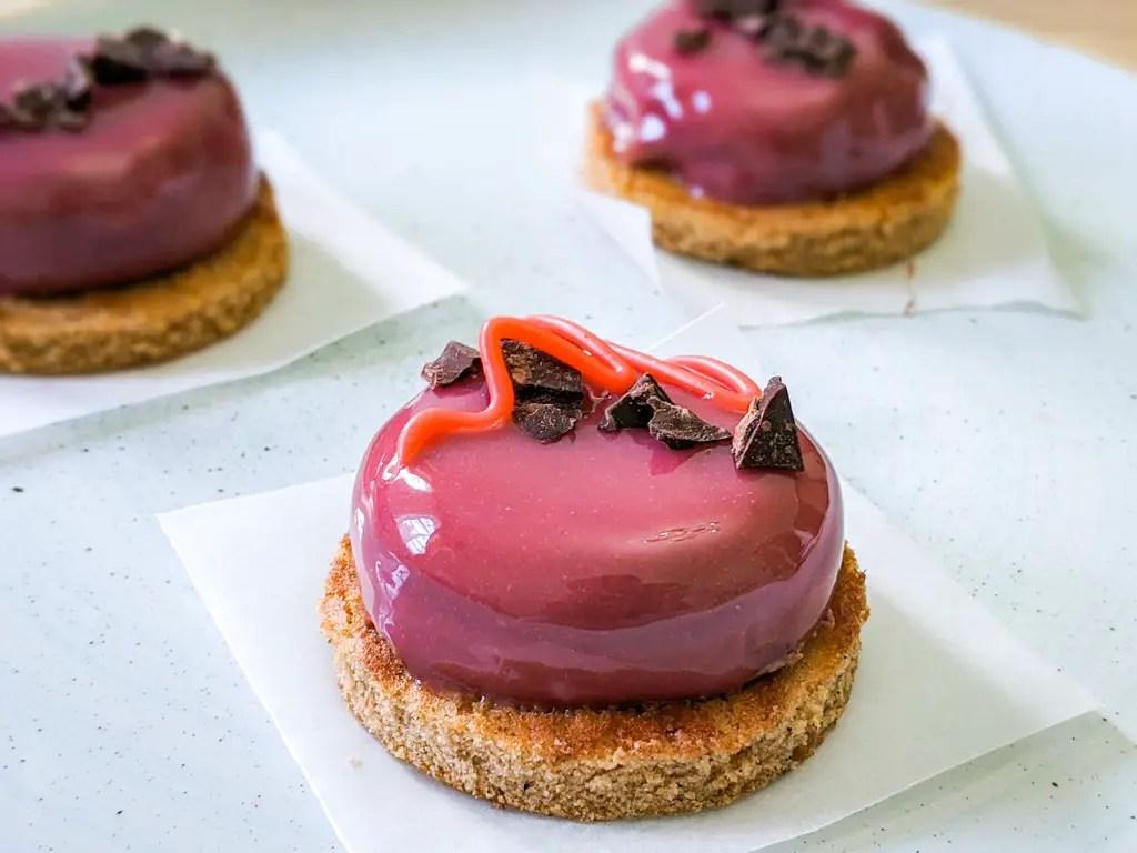 cherry chocolate mousse cake entremet mirror glaze