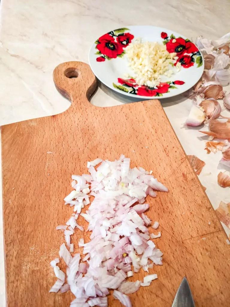 shallot and garlic chopped