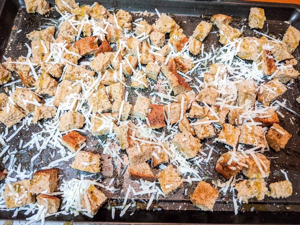 homemade croutons for the classic caesar salad
