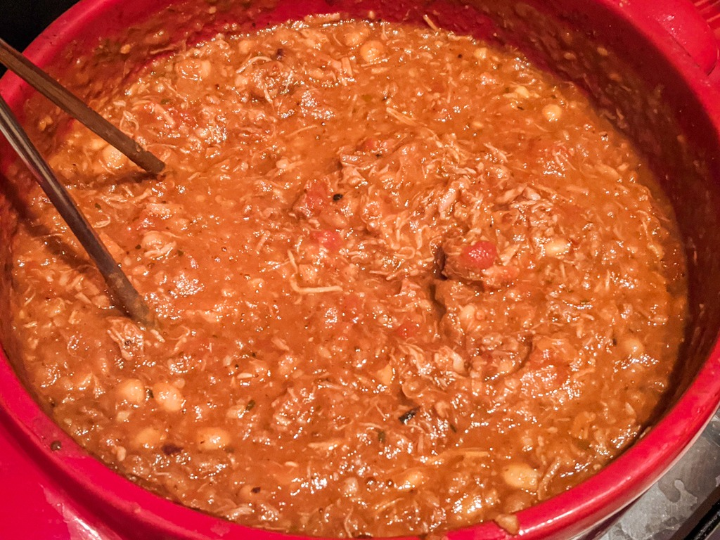 Chili after 3.5 hours of simmering and then being mashed around to combine