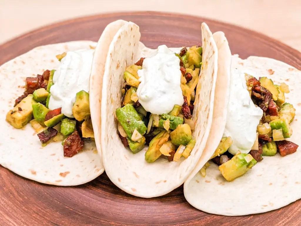 spicy chorizo avocado tacos