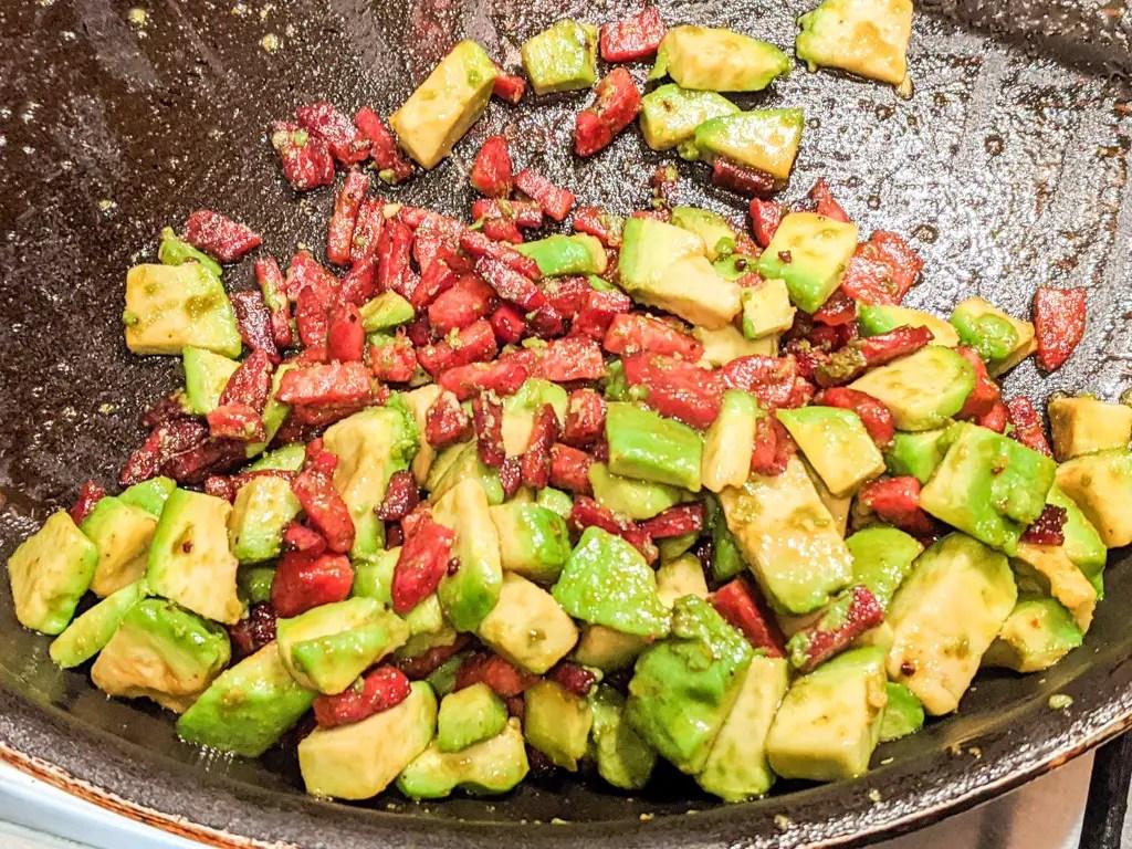 spicy chorizo and avocado mix