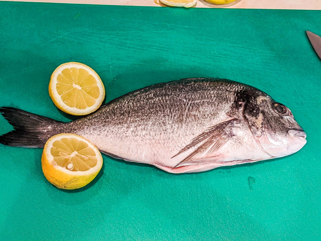 Gilt head sea bream scaled and gutted