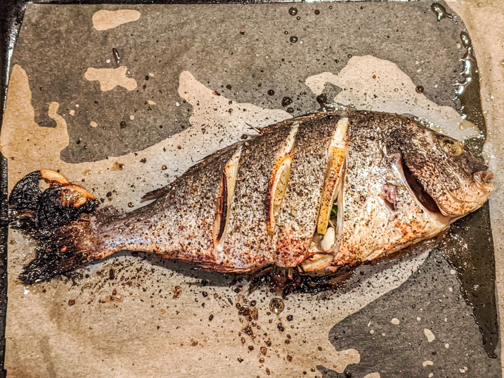 Greek sea bream right out of the oven