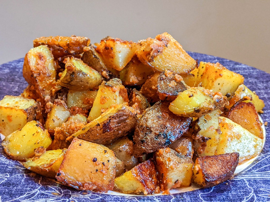 Red Pesto Potatoes on a plate
