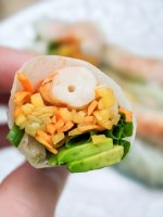 Prawn and avocado spring rolls cross section