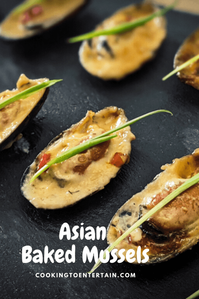 Asian Baked Mussels pinterest pin