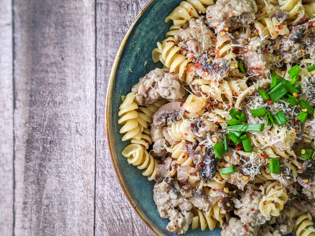 sausage and mushroom rotini pasta