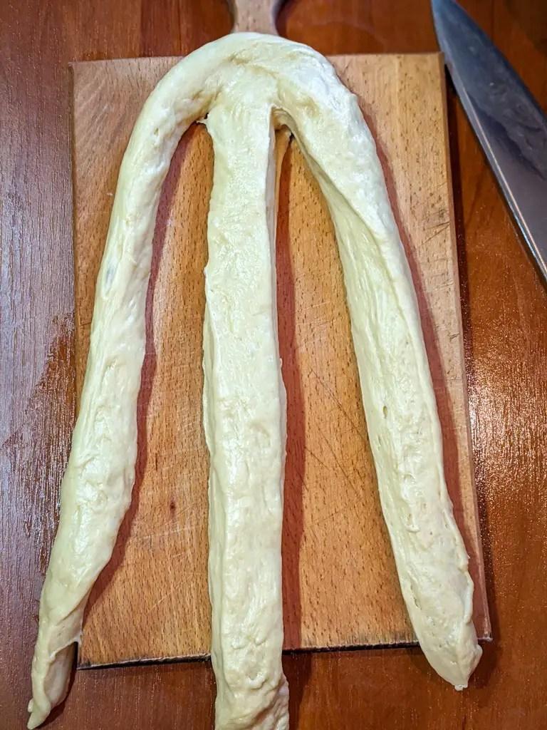 Braiding the challah bread