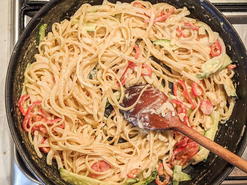 Cold Sesame Noodles in a pan