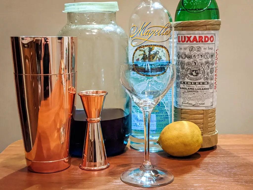 Pelagic Ingredients: Magellan gin, Luxardo Maraschino Liqueur, Lemon Juice, Creme de Butterfly